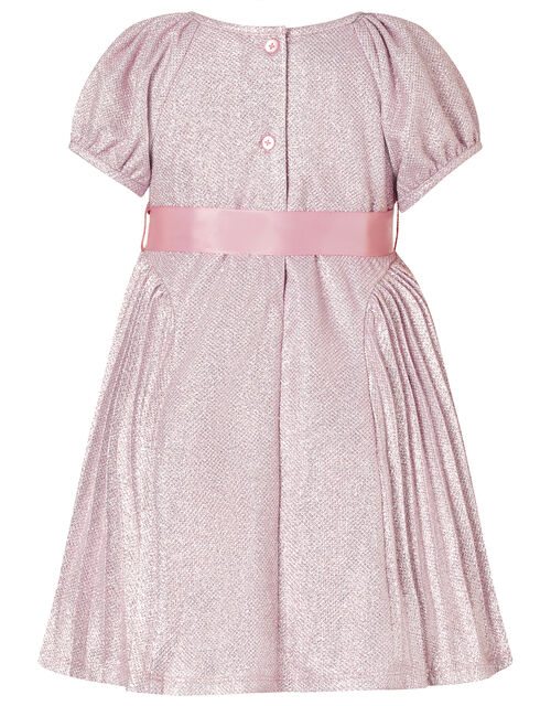 Baby Mercury Shimmer Pleated Dress, Pink (PINK), large