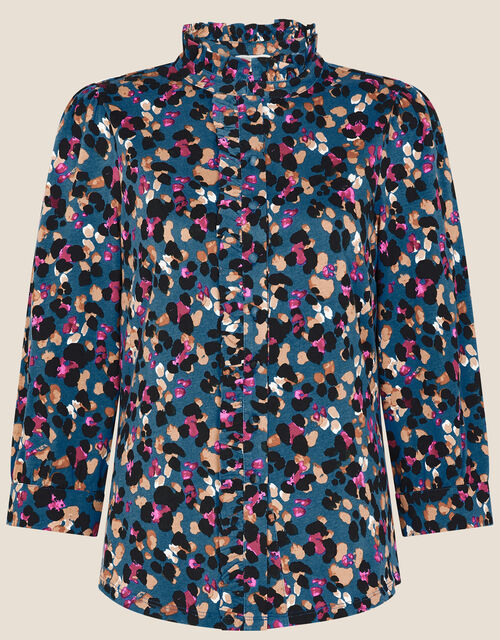 Aria Animal Print Jersey Shirt, Teal (TEAL), large