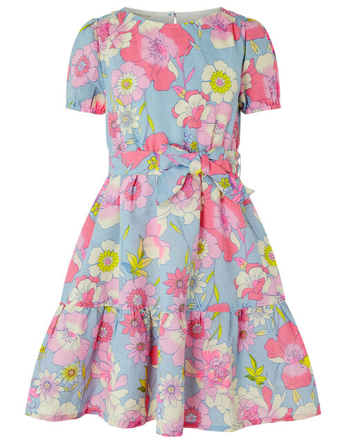 Octavia Floral Dress in Linen and Organic Cotton, Blue (BLUE), large