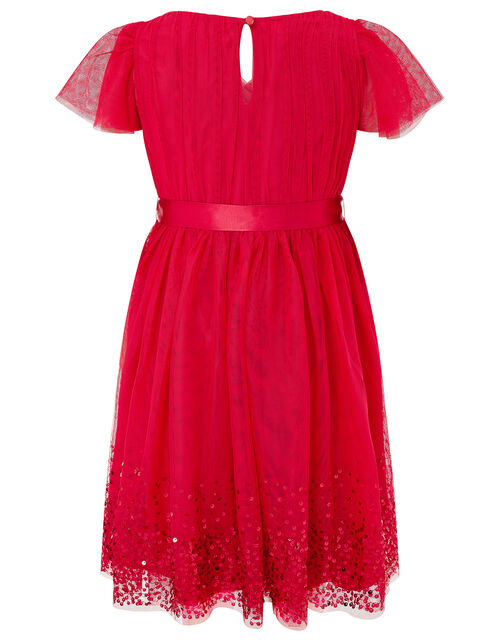 Sequin Tulle Wrap Dress, Red (RED), large