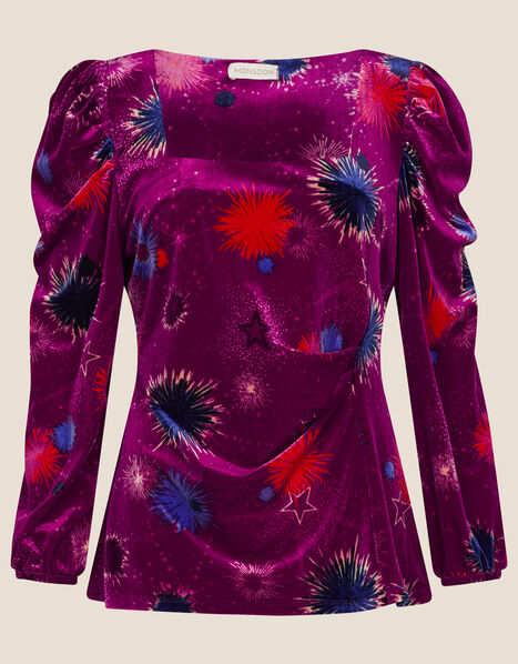 Saffron Starburst Velvet Top Pink, Pink (PINK), large
