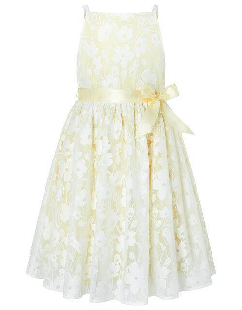 Lucille Floral Jacquard Dress, Yellow (LEMON), large