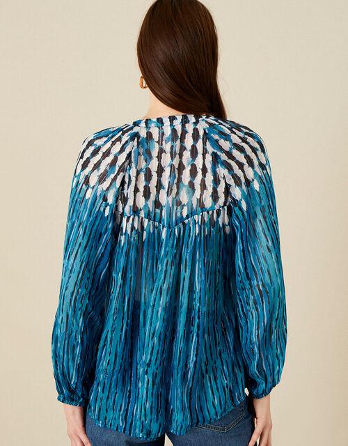Feather Print Embellished Top, Blue (BLUE), large