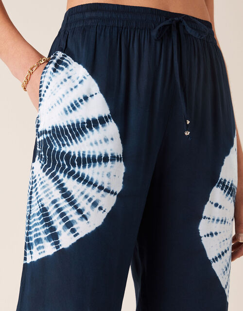 Tie-Dye Wide Leg Trousers in LENZING™ ECOVERO™, Blue (NAVY), large