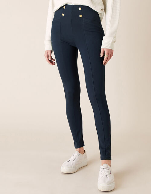 Military Button Treggings, Blue (NAVY), large