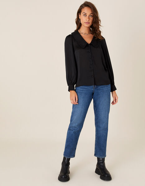 Suzie Collared Satin Blouse  Black, Black (BLACK), large