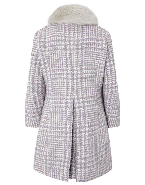 Dogtooth Tweed Coat, Purple (LILAC), large