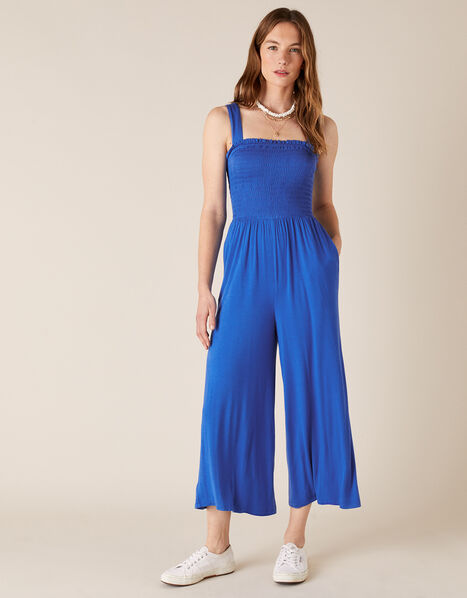 Jersey Jumpsuit with LENZING™ ECOVERO™ Blue, Blue (BLUE), large