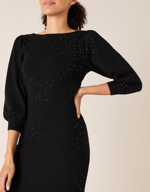 Hotfix Gem Knit Dress with Sustainable Viscose, Black (BLACK), large