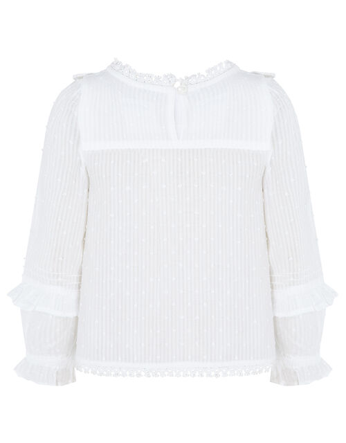 Woven Prairie Blouse in Pure Cotton, Ivory (IVORY), large
