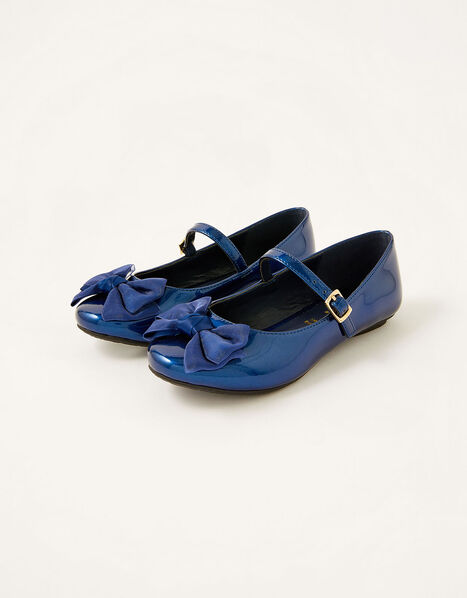 Organza Bow Patent Ballerina Flats Blue, Blue (NAVY), large