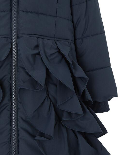 Navy Ruffle Padded Coat, Blue (NAVY), large