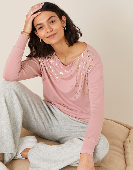 Anica Jersey Animal Foil Dolman Top  Pink, Pink (PINK), large