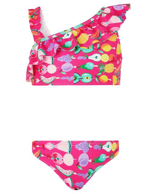 Fruit Print One-Shoulder Bikini Set, Pink (PINK), large