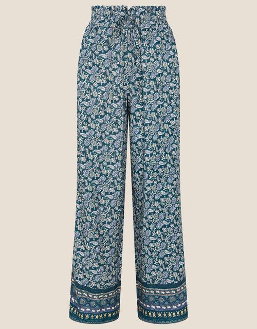 Rita Printed Wide Leg Trousers, Teal (TEAL), large