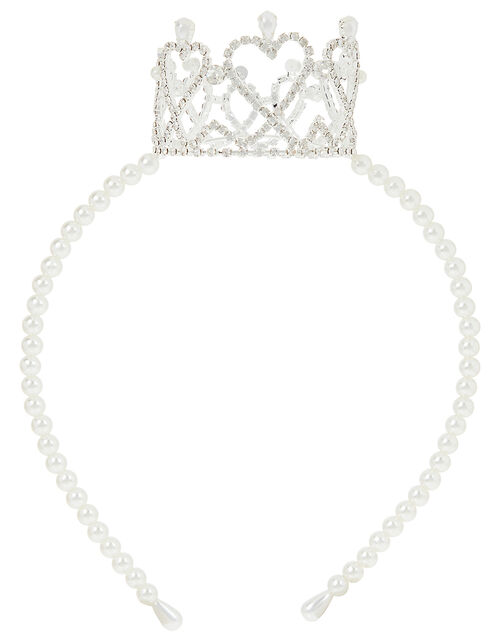 Harriet Pearl and Diamante Crown Headband, , large