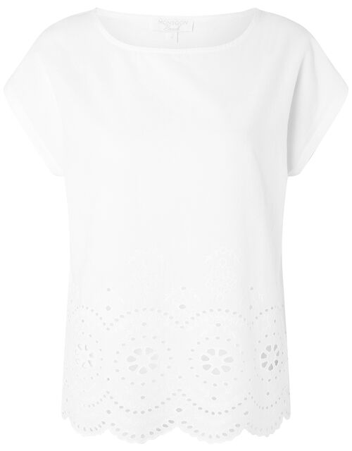 Lila Woven Front Tee in Organic Cotton , Ivory (IVORY), large