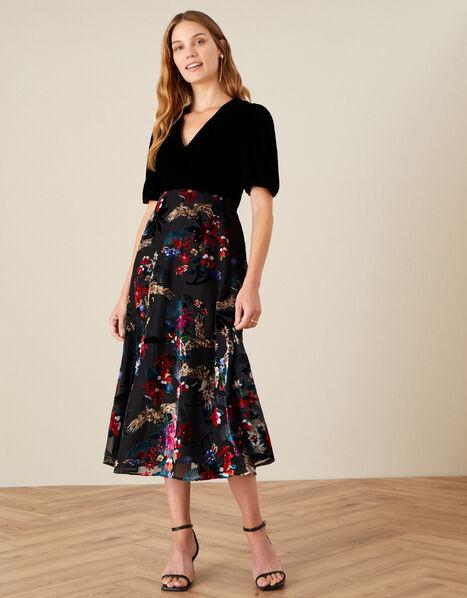 Carena Crane Devore Velvet Midi Dress Black, Black (BLACK), large