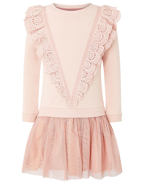 Frill Sweat 2-in-1 Dress Pink, Pink (PINK), large