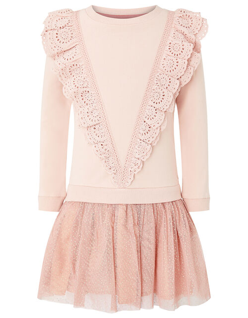 Frill Sweat 2-in-1 Dress, Pink (PINK), large