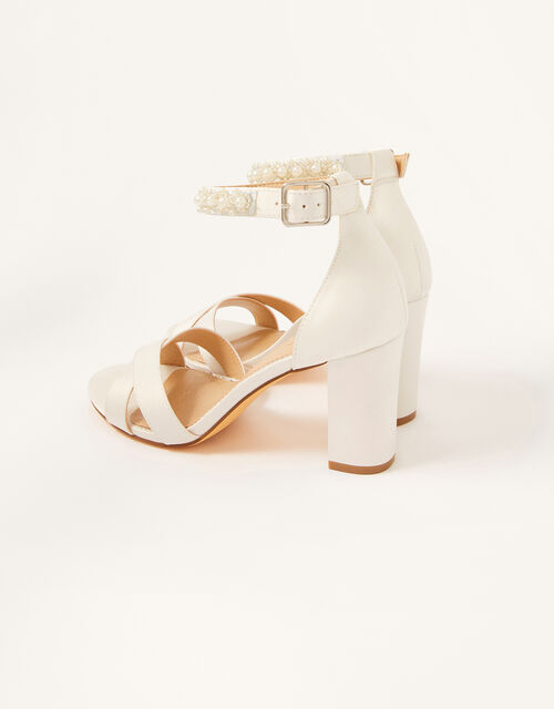Beaded Strap Bridal Sandals, Ivory (IVORY), large