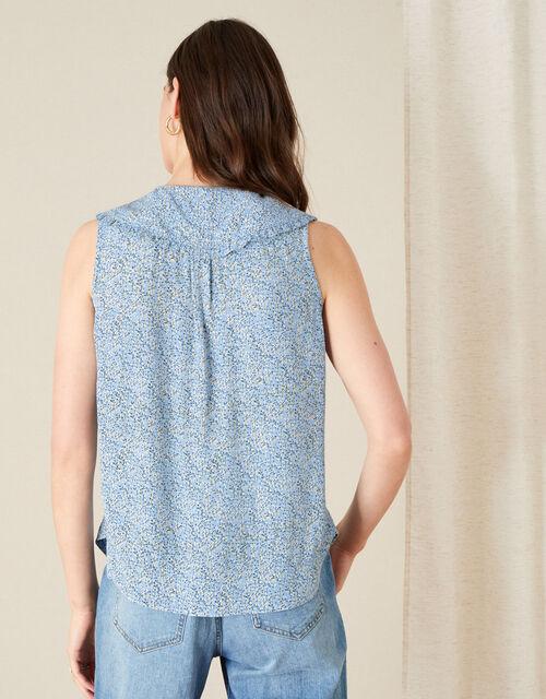 Fiona Ditsy Print Collar Sleeveless Top, Blue (BLUE), large