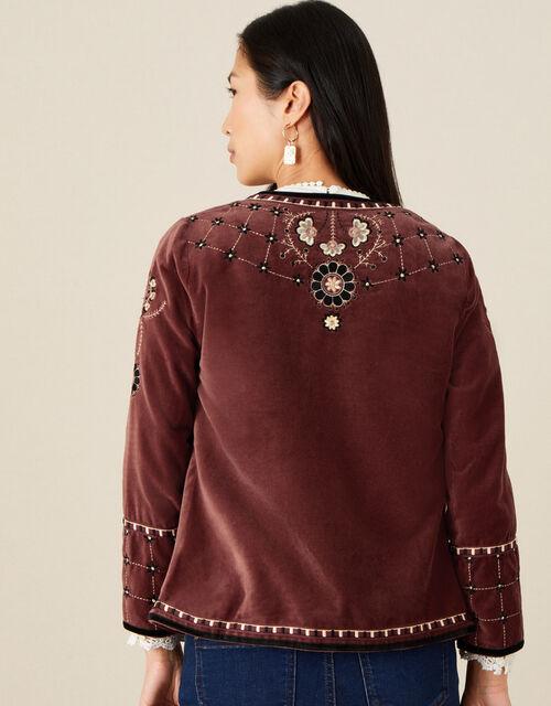 Embroidered Velvet Jacket, Brown (BROWN), large
