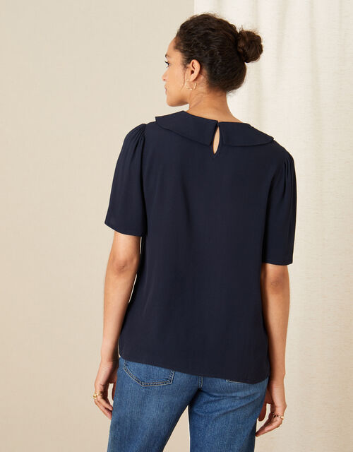 Collared Short Sleeve Top, Blue (NAVY), large