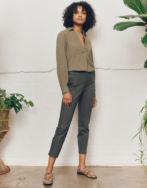 Safaia Ankle Grazer Jeans, Green (KHAKI), large