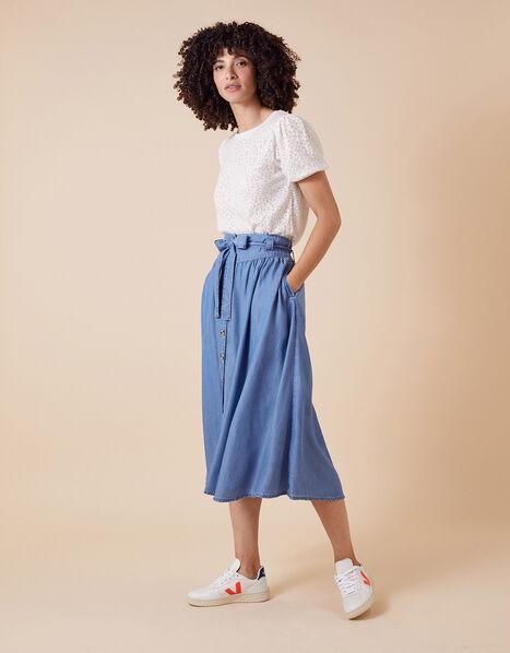 Tammy Midi Skirt  in LENZING™ TENCEL™ Blue, Blue (DENIM BLUE), large