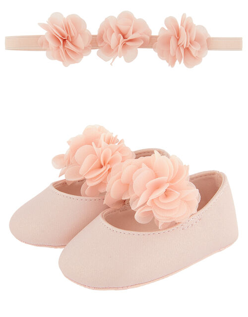 Baby Macaroon Corsage Bando and Bootie Set, Pink (PINK), large
