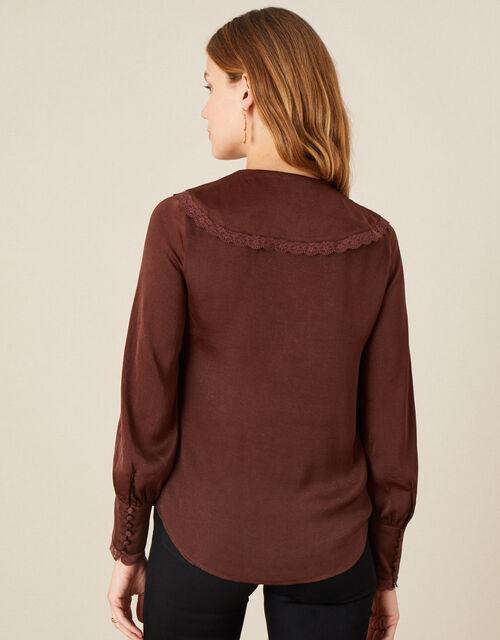 Quinn Ruffle Satin Long Sleeve Blouse, Brown (CHOCOLATE), large