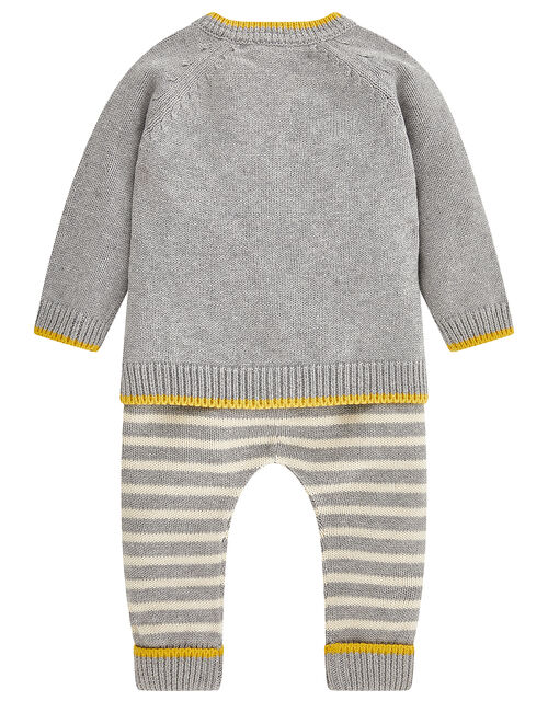 Newborn Baby Lionel Set in Knitted Cotton, Grey (GREY), large