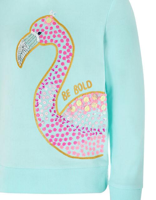 Dana Embellished Flamingo Hoody, Blue (TURQUOISE), large