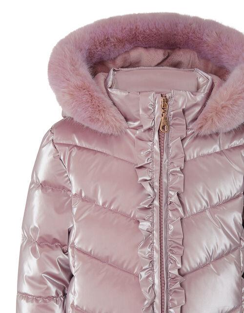 Metallic Frill Hooded Coat, Pink (PINK), large