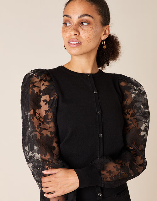 Floral Sleeve Cardigan with Recycled Fabric, Black (BLACK), large