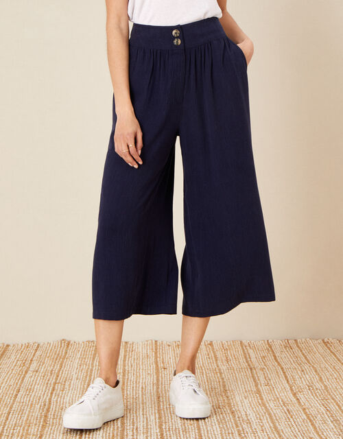 Crop Trousers in LENZING™ TENCEL™, Blue (NAVY), large