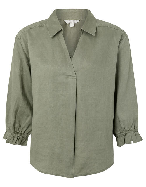 Cynthia Blouse in Pure Linen, Green (KHAKI), large