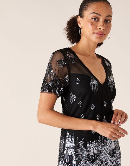 Beatrix Sequin Tunic Dress, Black (BLACK), large