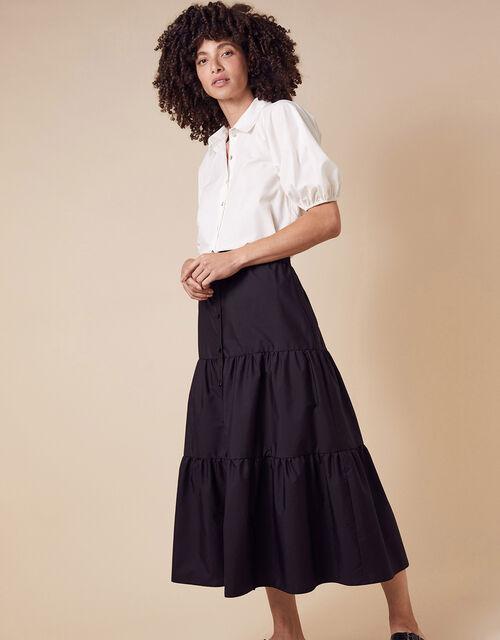 Poplin Tiered Midi Skirt, Black (BLACK), large