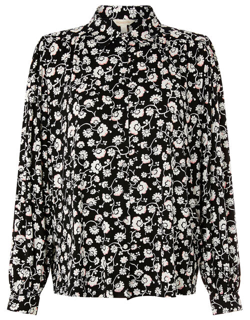 Leigh Floral Shirt with LENZING™ ECOVERO™, Black (BLACK), large