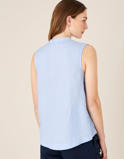 Jasmine Tank Top in Pure Linen, Blue (BLUE), large