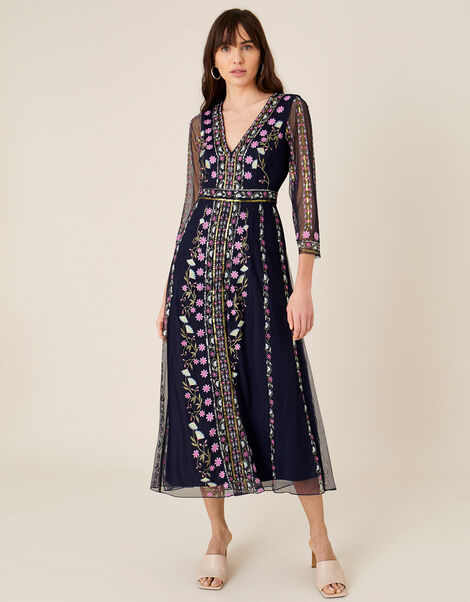 Amara Embroidered Midi Dress Blue, Blue (NAVY), large