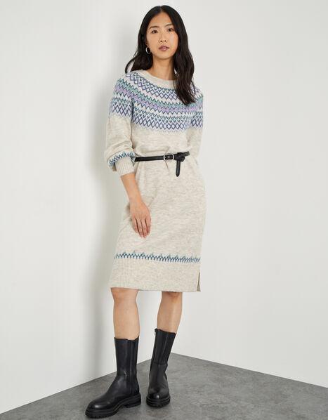 Fairisle Crew Neck Knit Dress Cream, Cream (CREAM), large