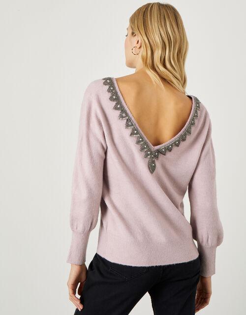 Embellished Back Detail Jumper , Pink (PINK), large
