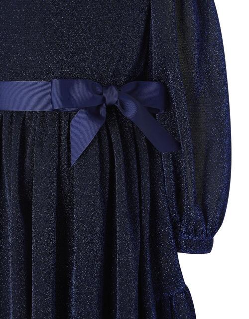 Sparkle Long-Sleeve Dress, Blue (NAVY), large