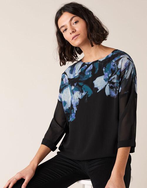 Floral Placement Print Blouse, Black (BLACK), large