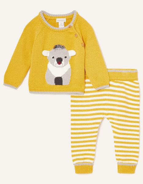 Newborn Koala Knit Set Yellow, Yellow (MUSTARD), large