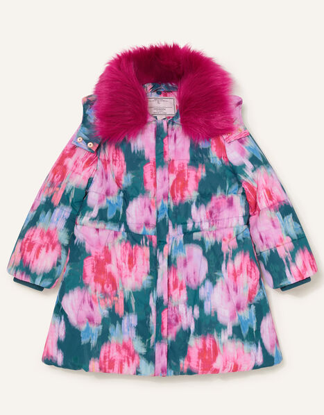 Blurred Floral Padded Coat Teal, Teal (TEAL), large