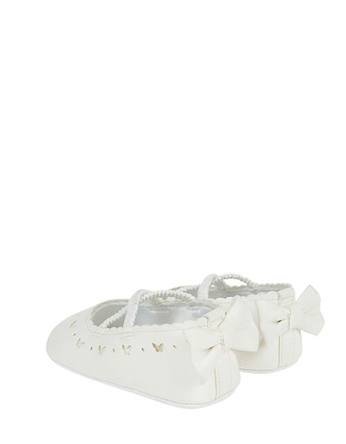 Baby Butterfly and Bowtie Shimmer Booties, Ivory (IVORY), large